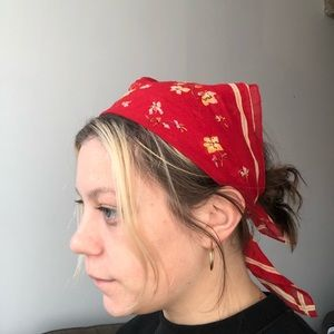Madewell red floral scarf handkerchief